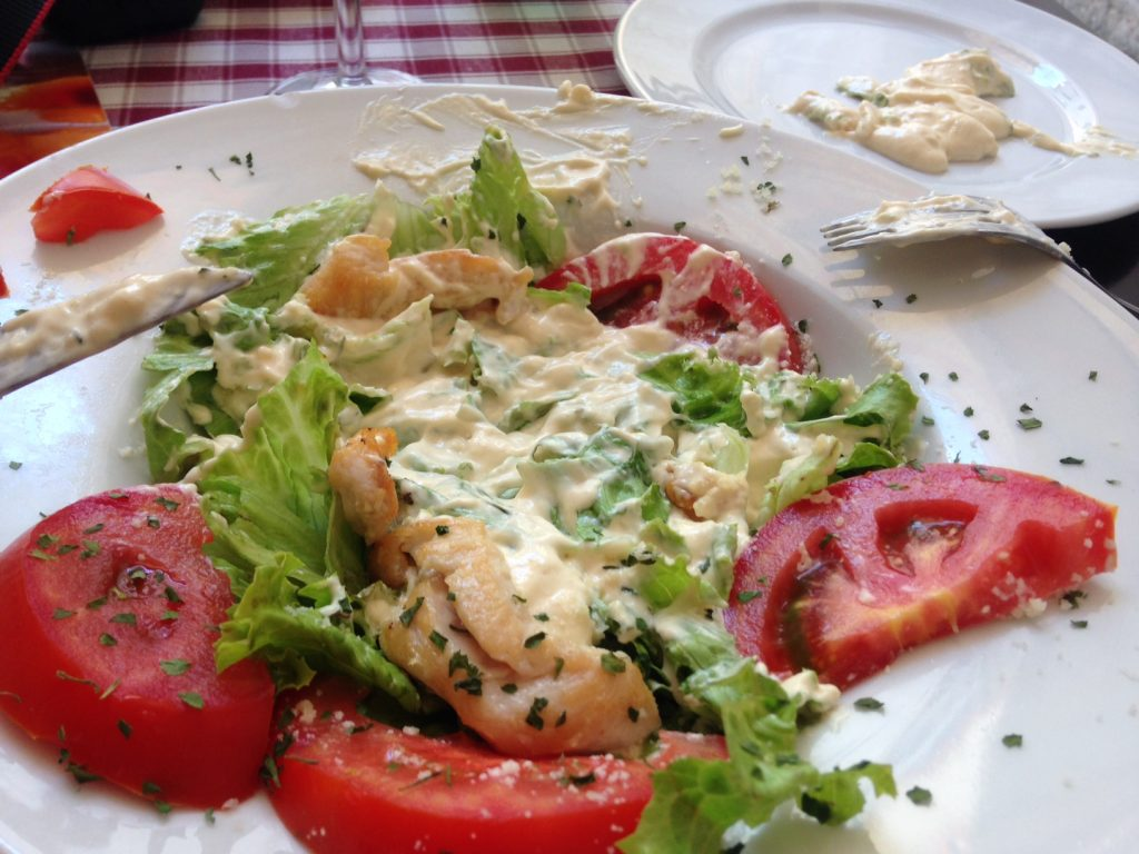 Disgusting caesar salad Portun Restaurant Dubrovnik