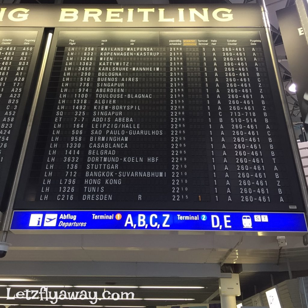 Frankfurt Airport vintage flight departure time table