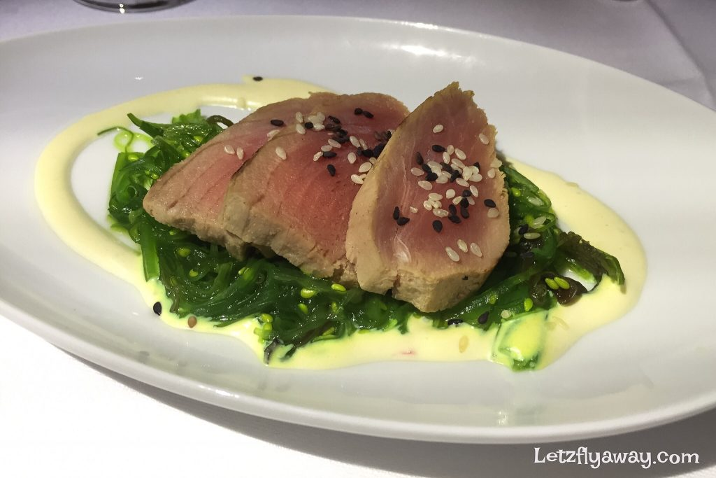 Lufthansa Business Class Boeing 747-8 Food Seared Tuna