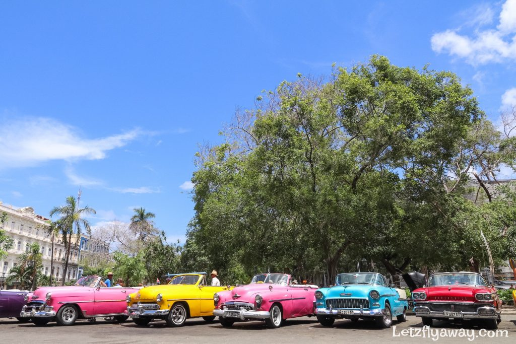 old cars in parque central havana