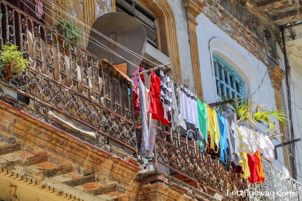 laundry hanging from balcony
