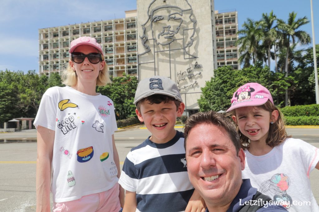 Havana Cuba with Kids family picture at revolution Square