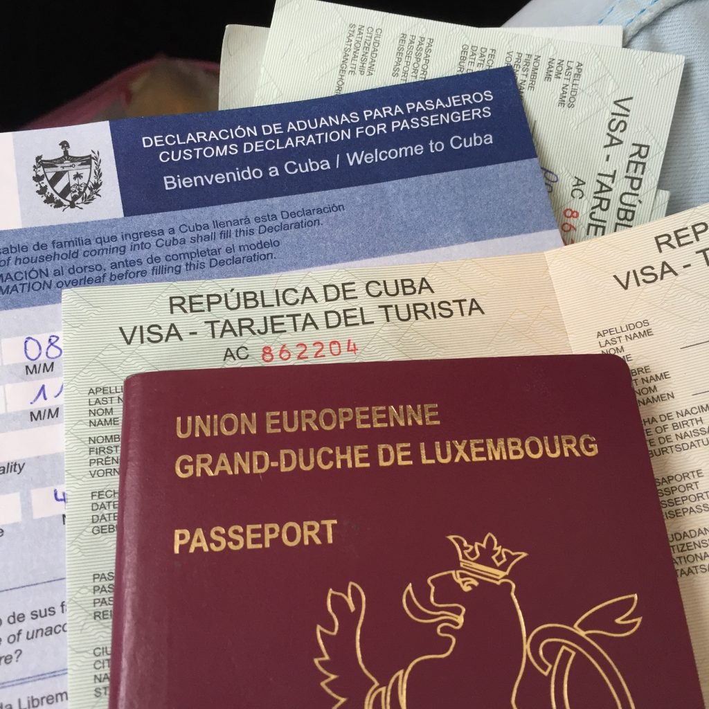 cuba visa and customs declaration form