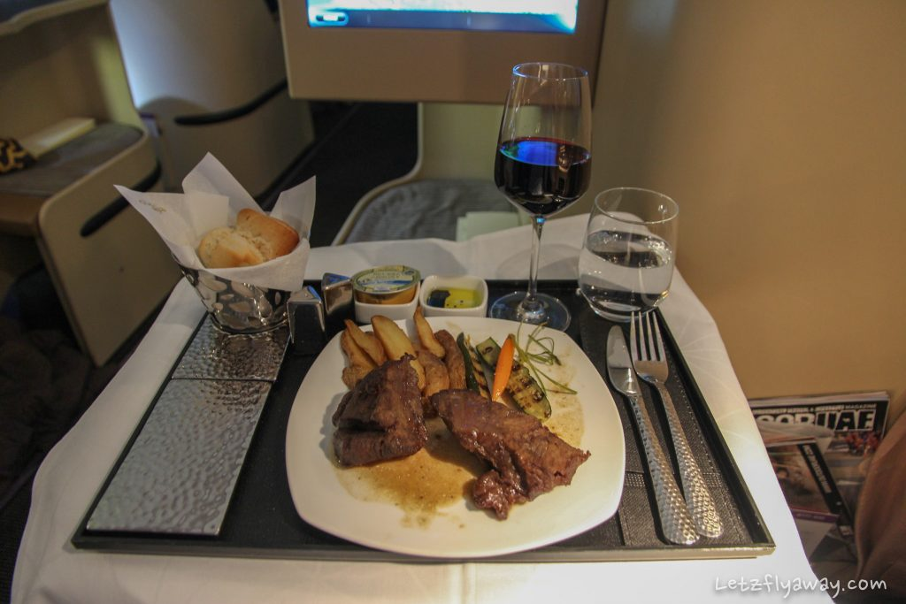 Etihad Business Class Boeing 777 meal