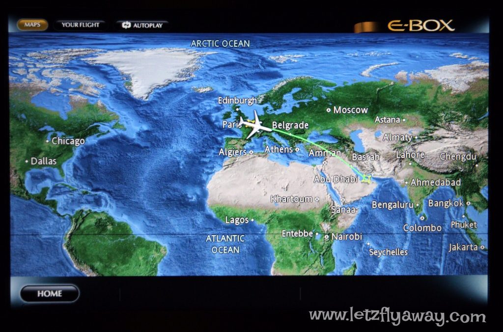 Etihad Business Class Boeing 777 flight map