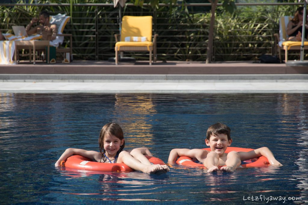 The Oberoi Dubai kids enjoying the pool