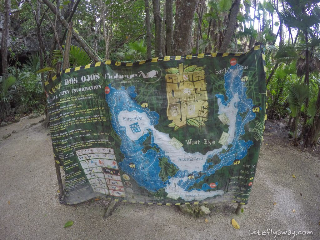 Playa del Carmen with Kids Cenote Dos Ojos Map