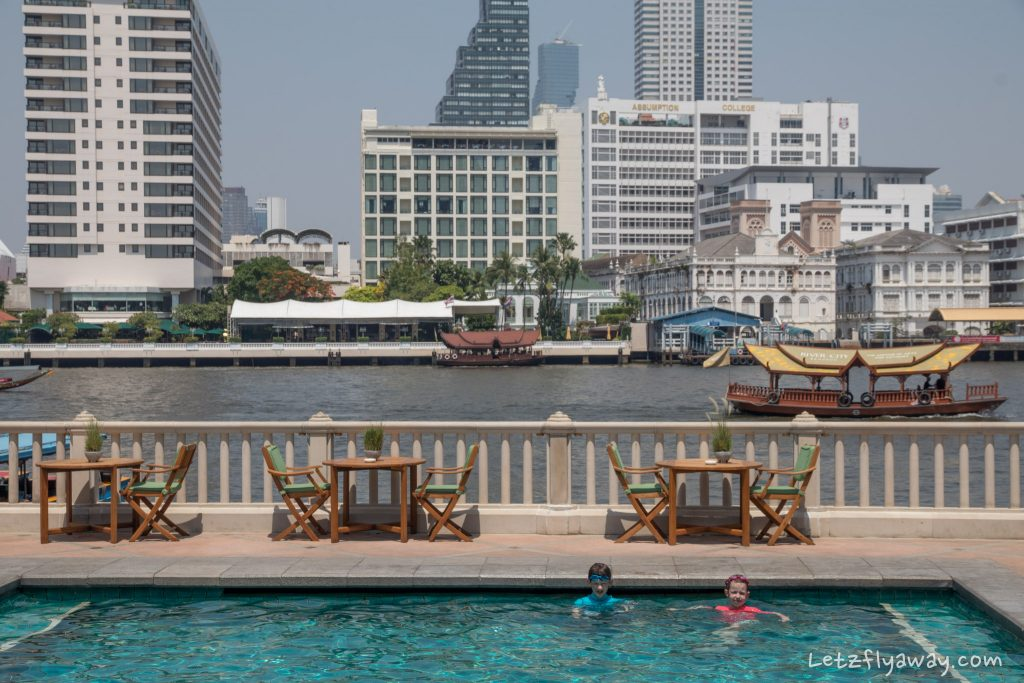 Peninsula Bangkok river view from pool