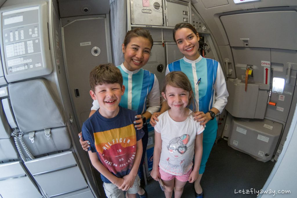 Bangkok Airways cabin crew with children