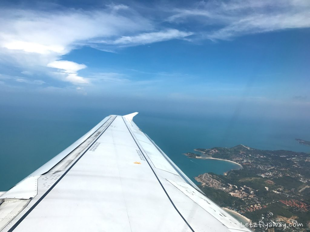 Bangkok Airways Review Airbus 319 taking off from koh samui