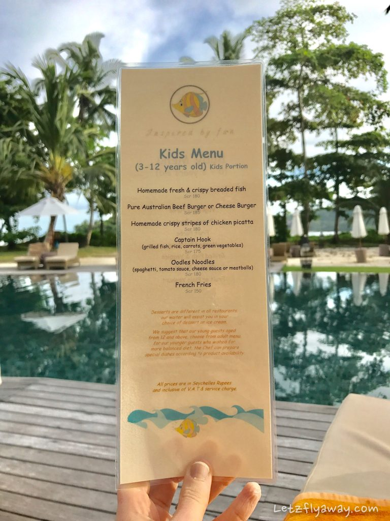 Constance Ephelia Resort kids menu