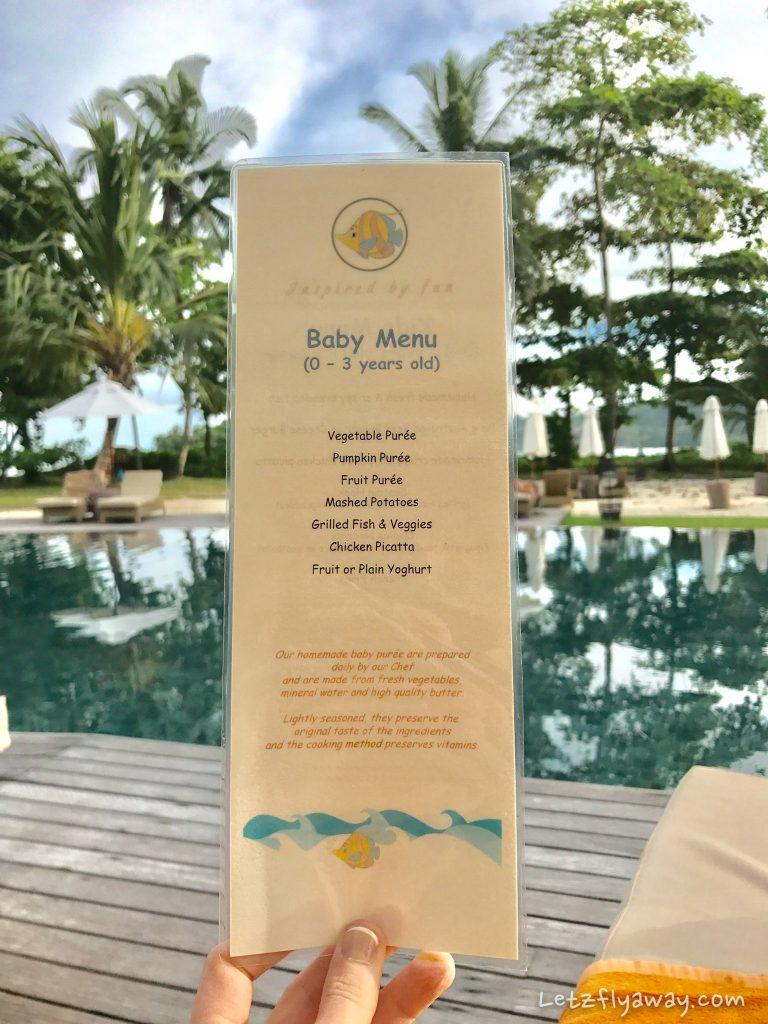 Constance Ephelia Resort baby menu