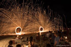 beach dinner fire show