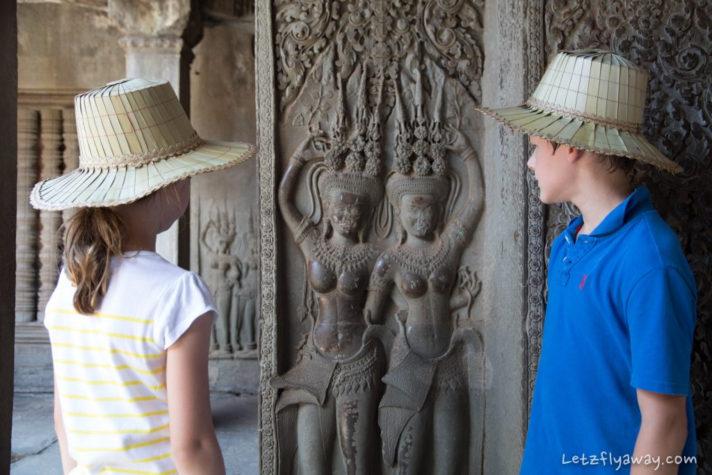Kids visiting Angkor Wat