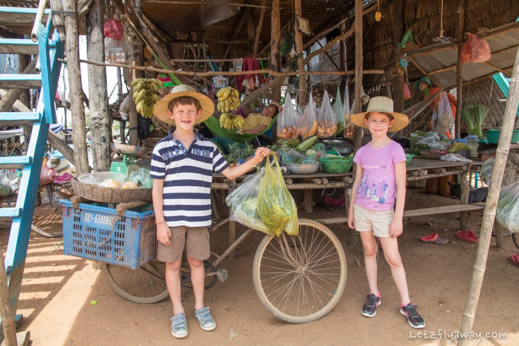 kids shopping in kampong phluk