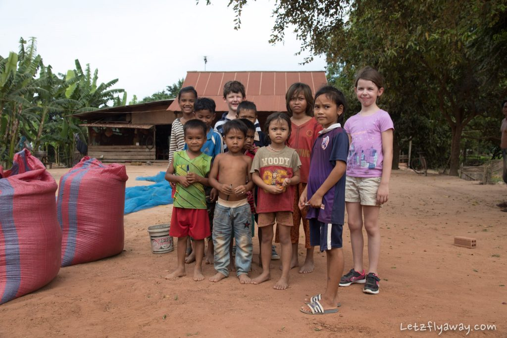 Meeting Cambodian children along the road