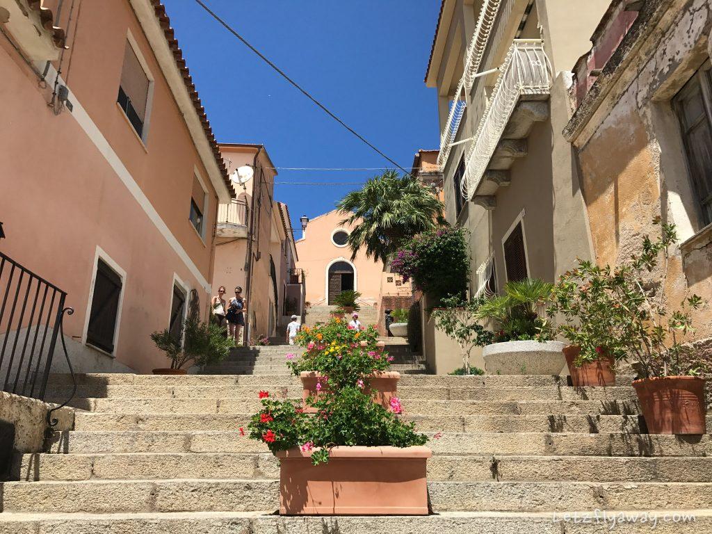 arzachena village stairs to santa lucia church