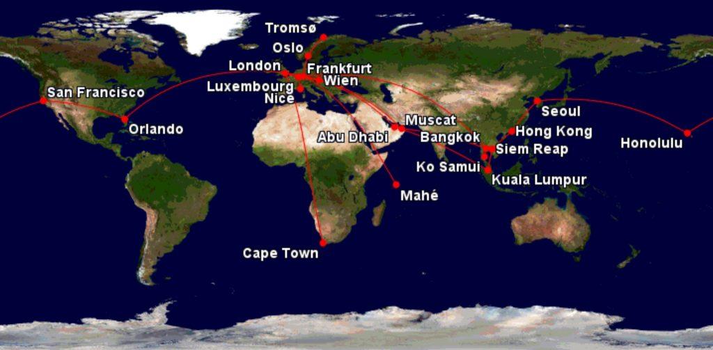 Letzflyaway 2017 travel map